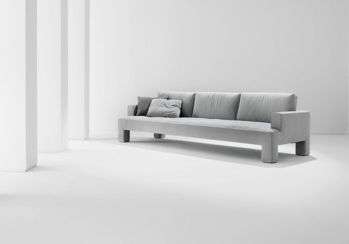 Three seater modern luxury sofa in white leather