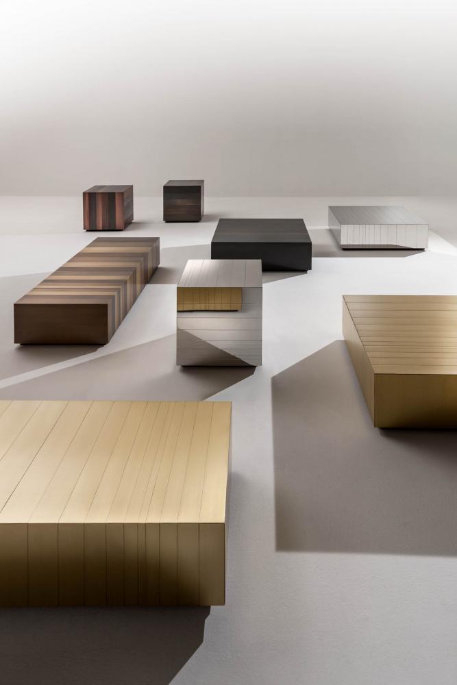Bespoke modern low tables cladded in metal brass copper iron or steel