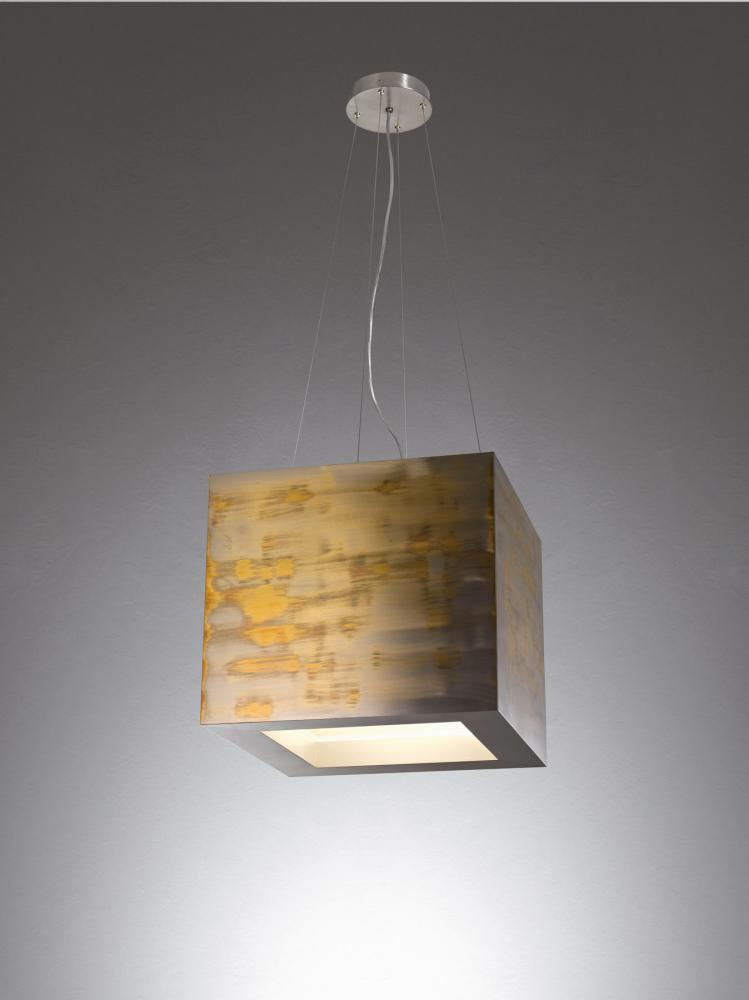 Modern pendant lamp with oxydized brass structure