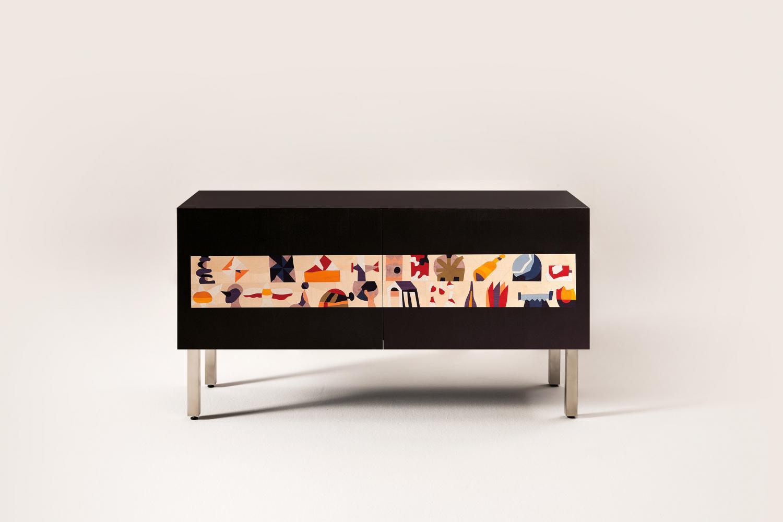 Ugo Nespolo intarsia sideboard limited edition