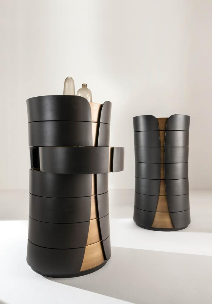 Hug is a modern round design luxury chest of drawers