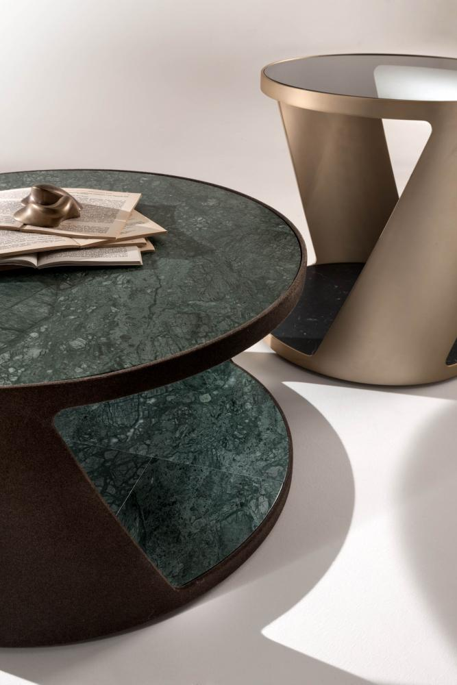 Shadow is a set of modern coffee tables in metal glass and marble