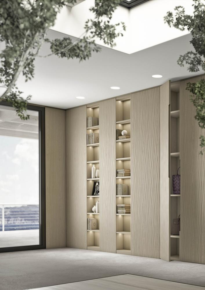 Laurameroni Onda Cabinet System made to measure artisanal, luxury day wardrobes in carved materic wood