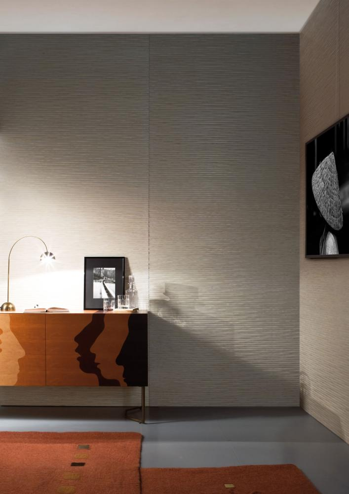 Custom made modern Wall Panels with Onda carved wood texture