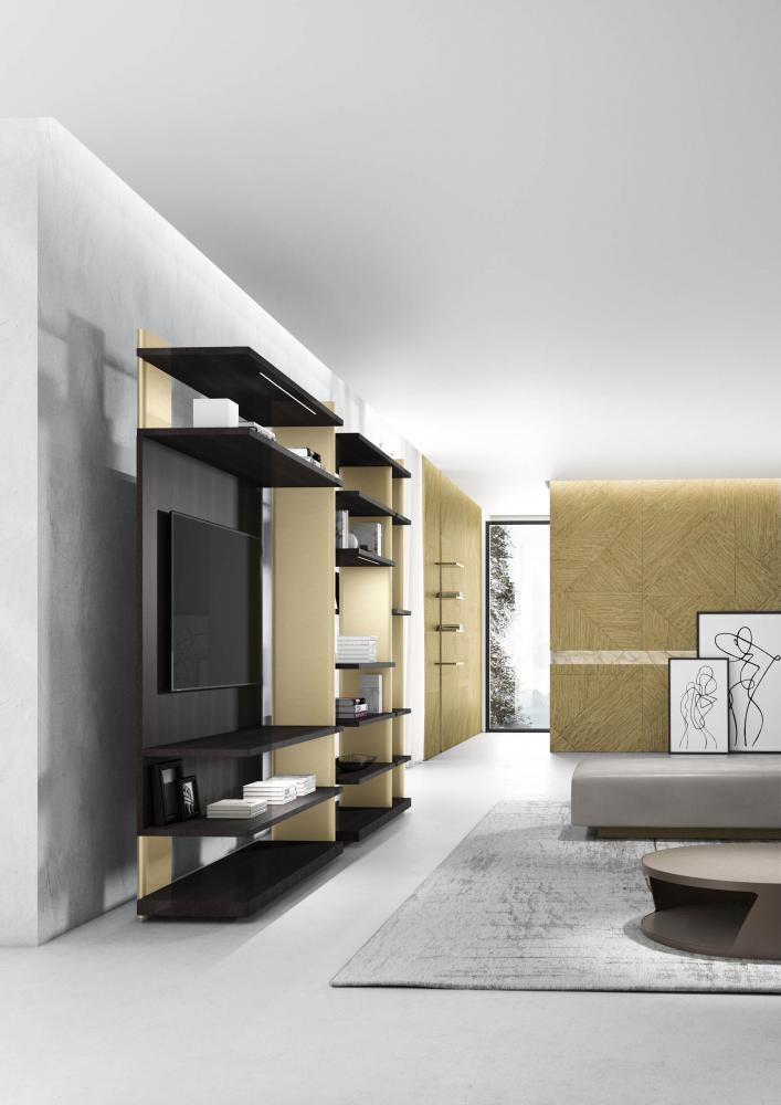 Laurameroni Outfit Freestanding Day System made to measure artisanal, luxury day wardrobes in materic wood and finishes