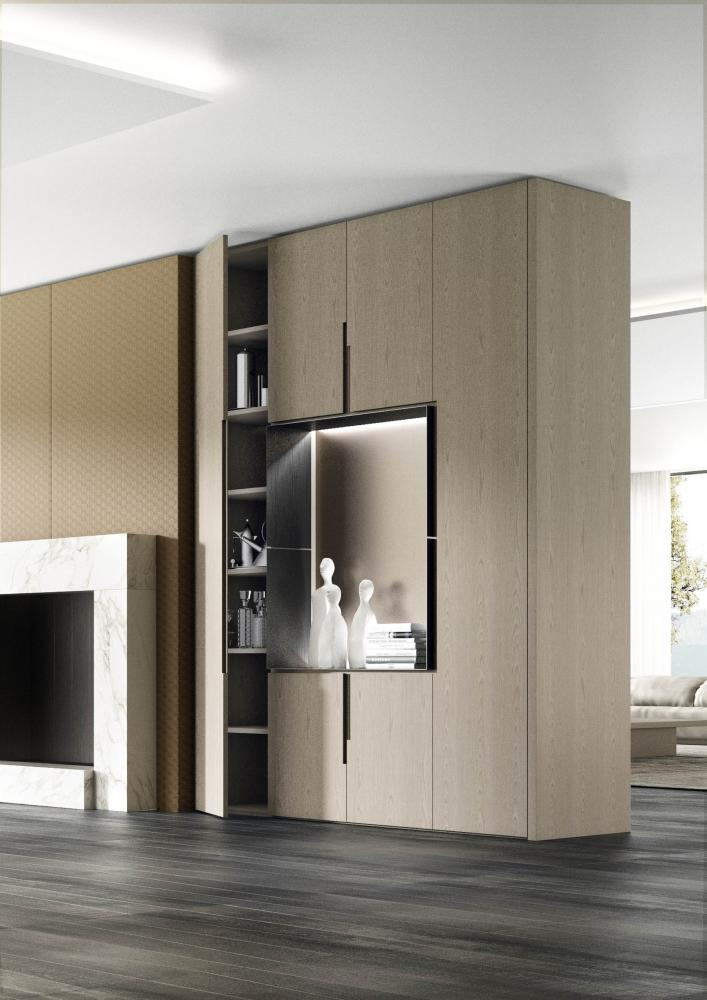 Laurameroni Plain Wood Cabinet System made to measure artisanal, luxury day wardrobes in plain, minimal wood