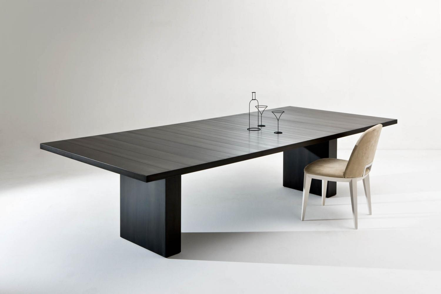 Luxury custom made table cladded in black iron