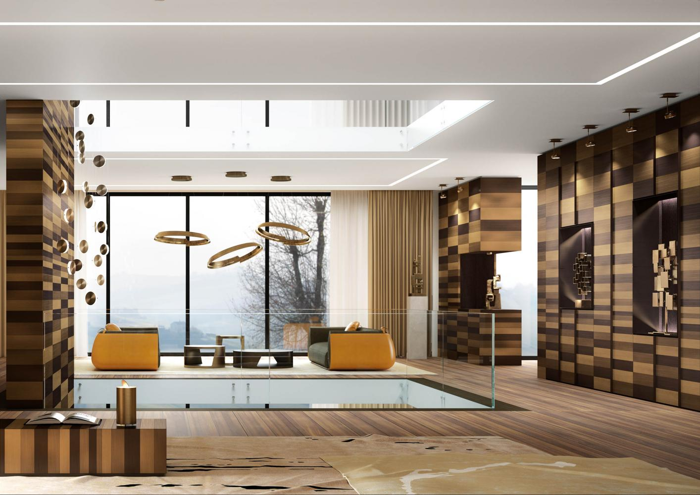 Laurameroni Stars Cabinet System made to measure artisanal, luxury day wardrobes in brass and copper metal stripes decoration
