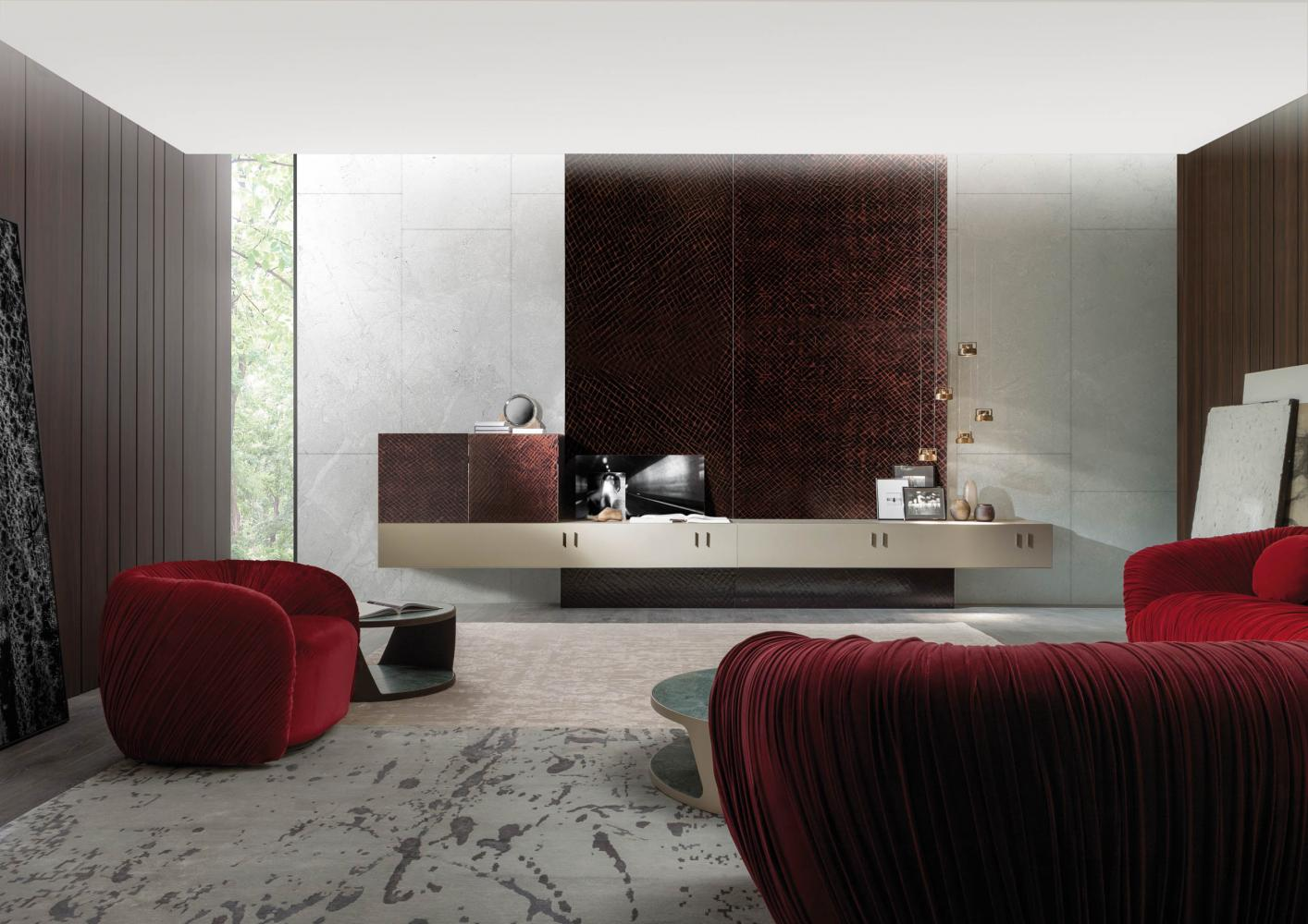 modern luxury living room with modular storage system configured as a tv unit in special lacquered surface