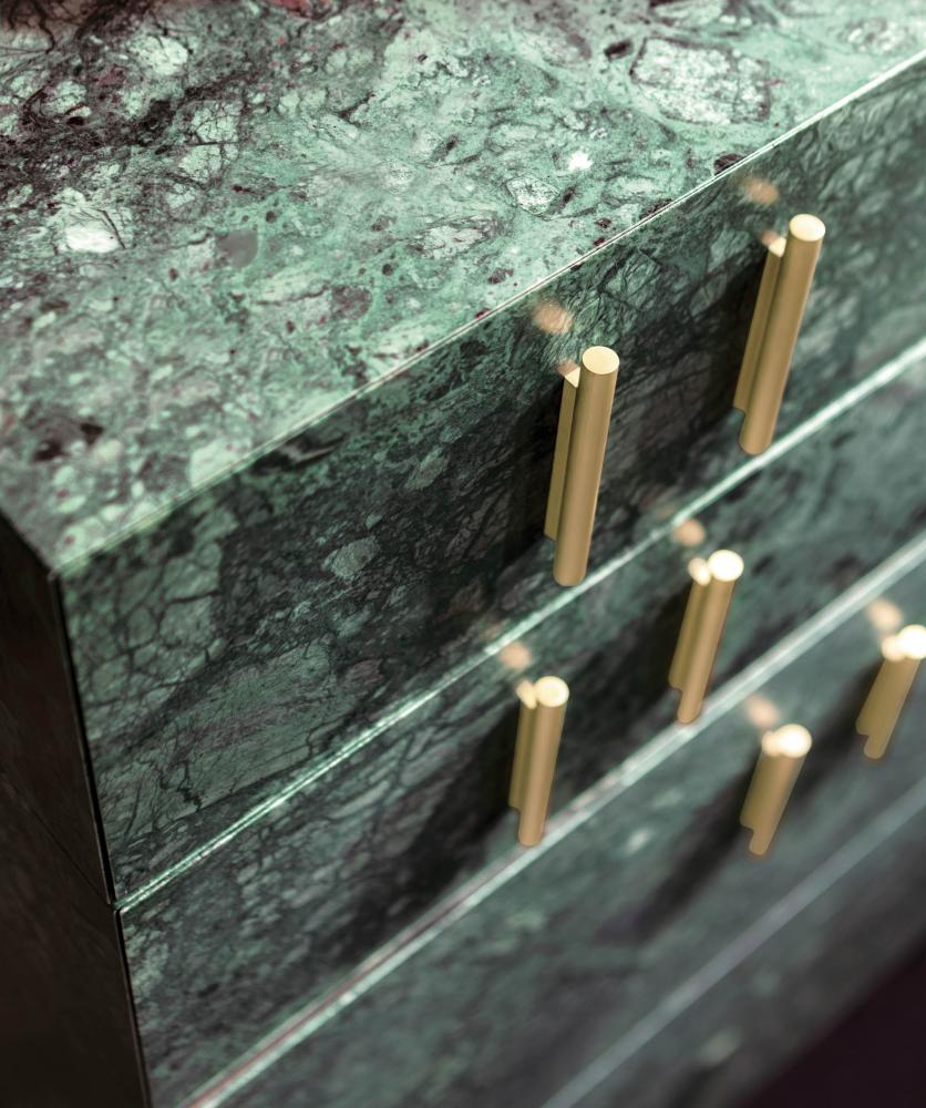 modular luxury storage system configured as a bar cabinet in green marble and special lacquered surface
