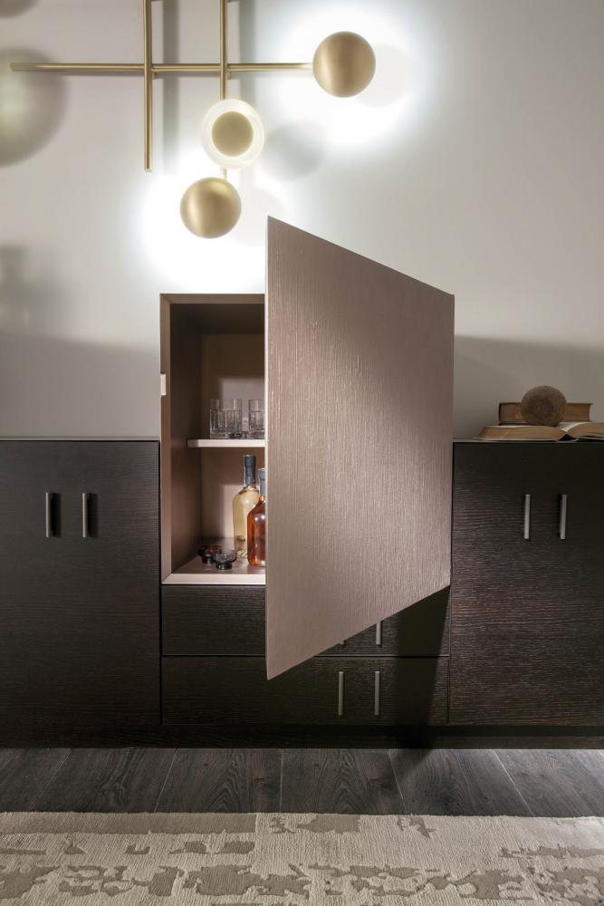 modern luxury living room with modular storage system configured as a sideboard in wood and special lacquered surface