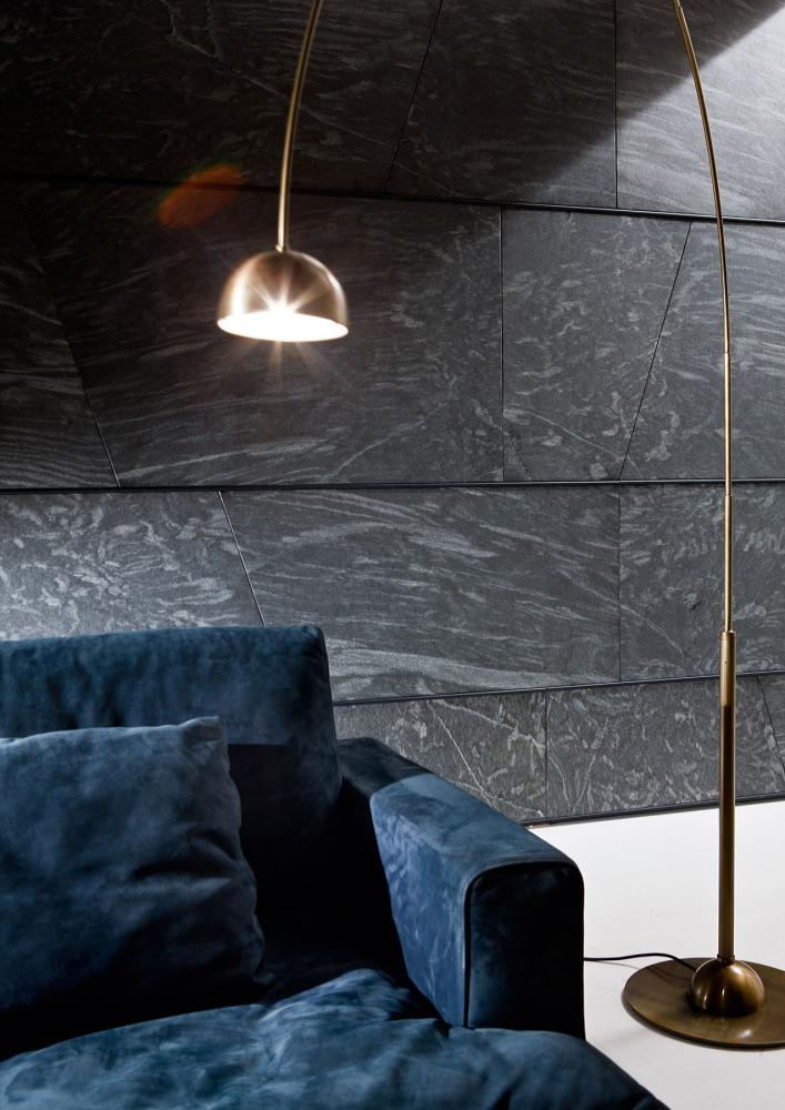 Modern wall panels in marble, wood and brass with geometric design