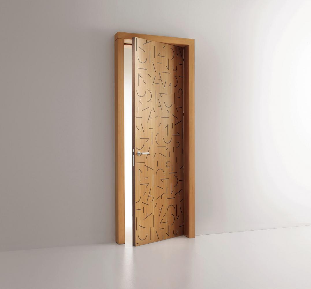 Tratti modern custom made decorative hinged door for contemporary interiors