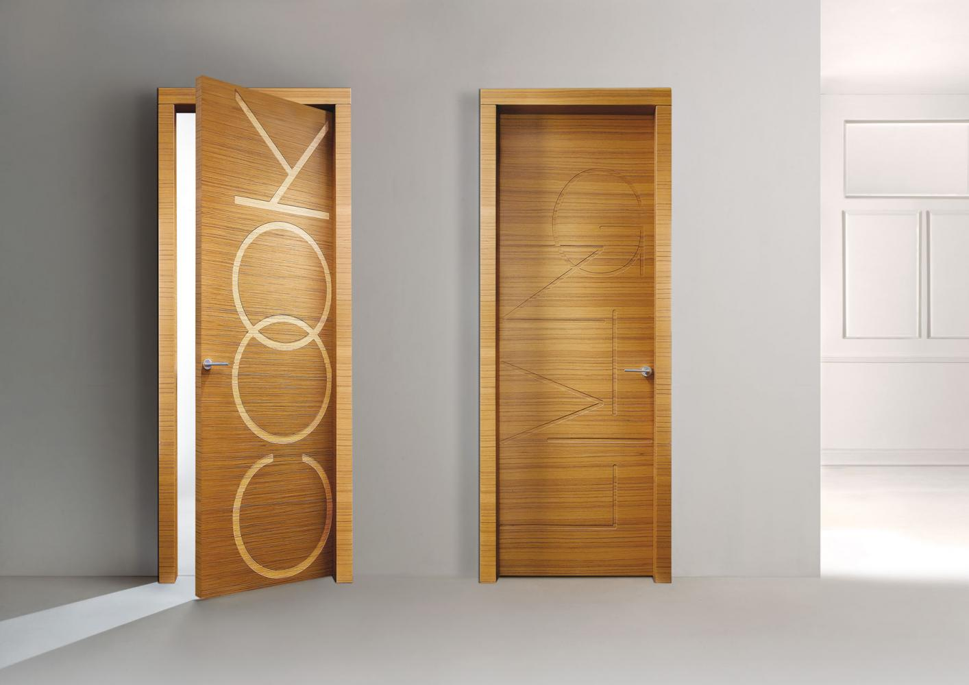 Words is a modern custom made decorative hinged door