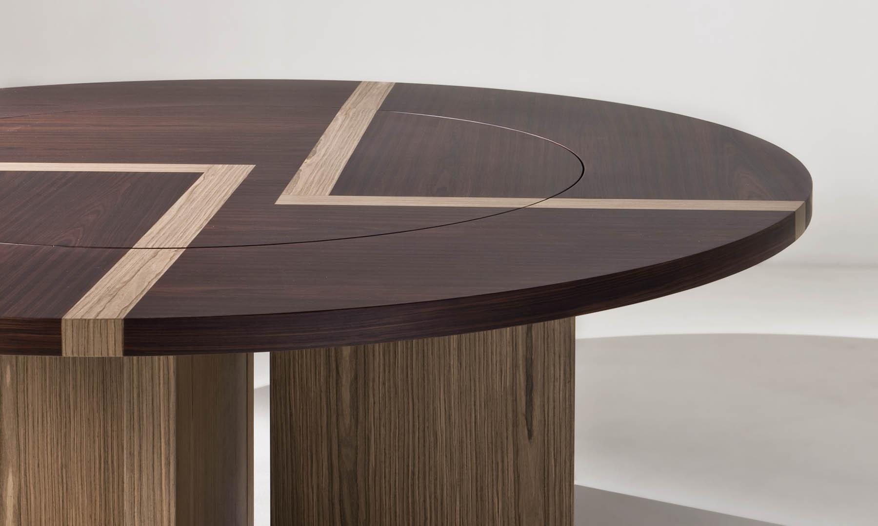 laurameroni bd 07 round table with lazy susan rotating top in rosewood and walnut canaletto wood with inlays on top