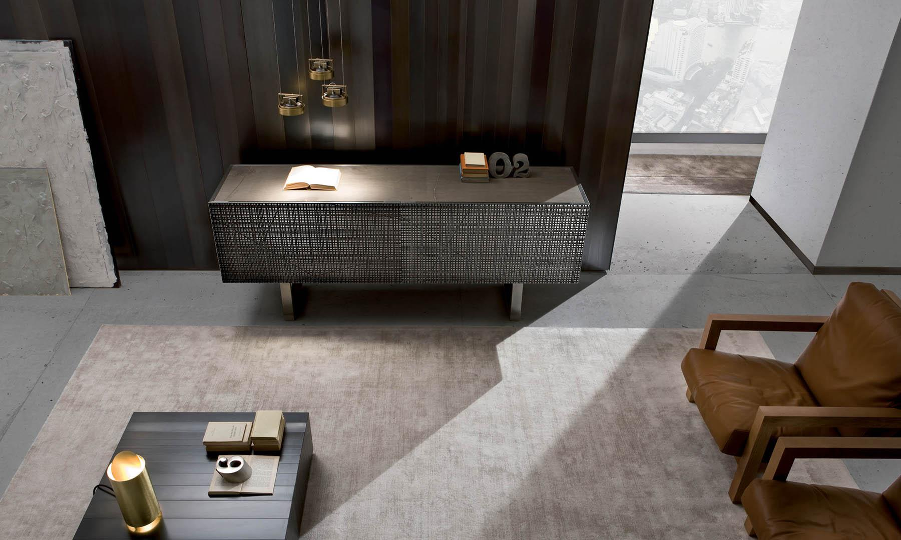 luxury living sideboard in liquid metal tin finish with wall panels in burnished iron