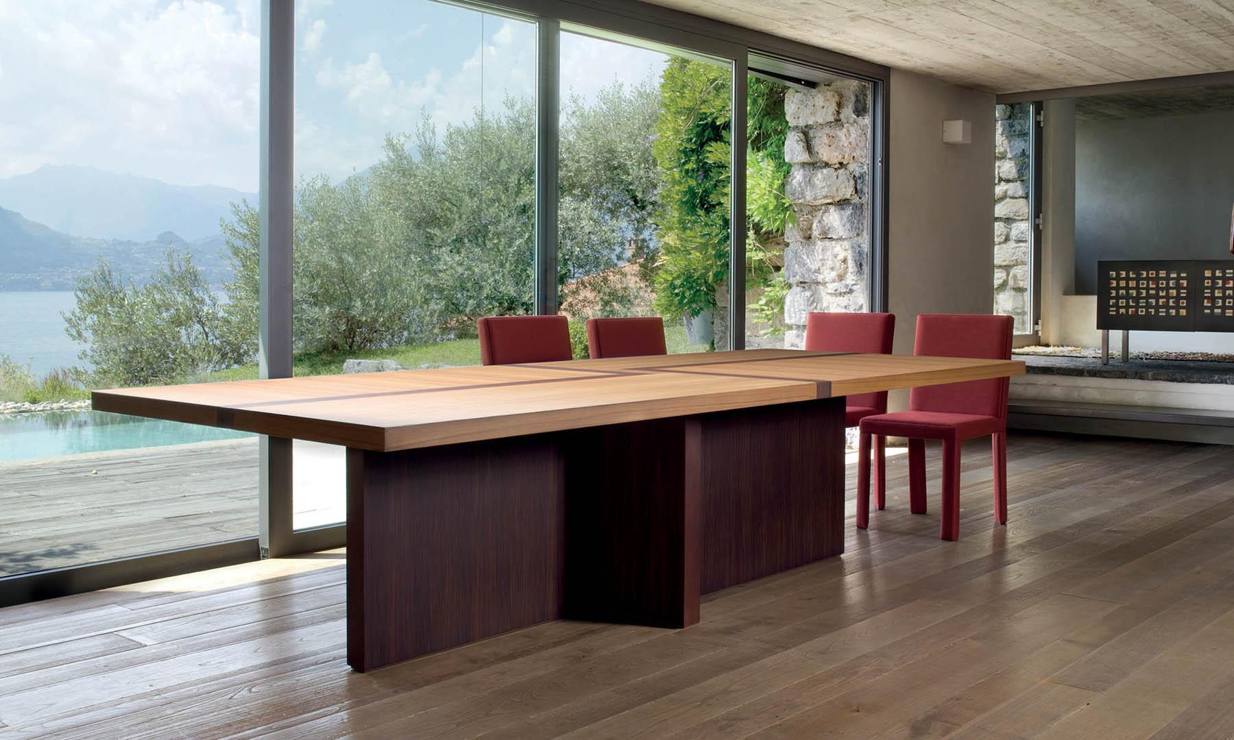 laurameroni bd 07 rectangular table in teak and rosewood wood with inlays on top