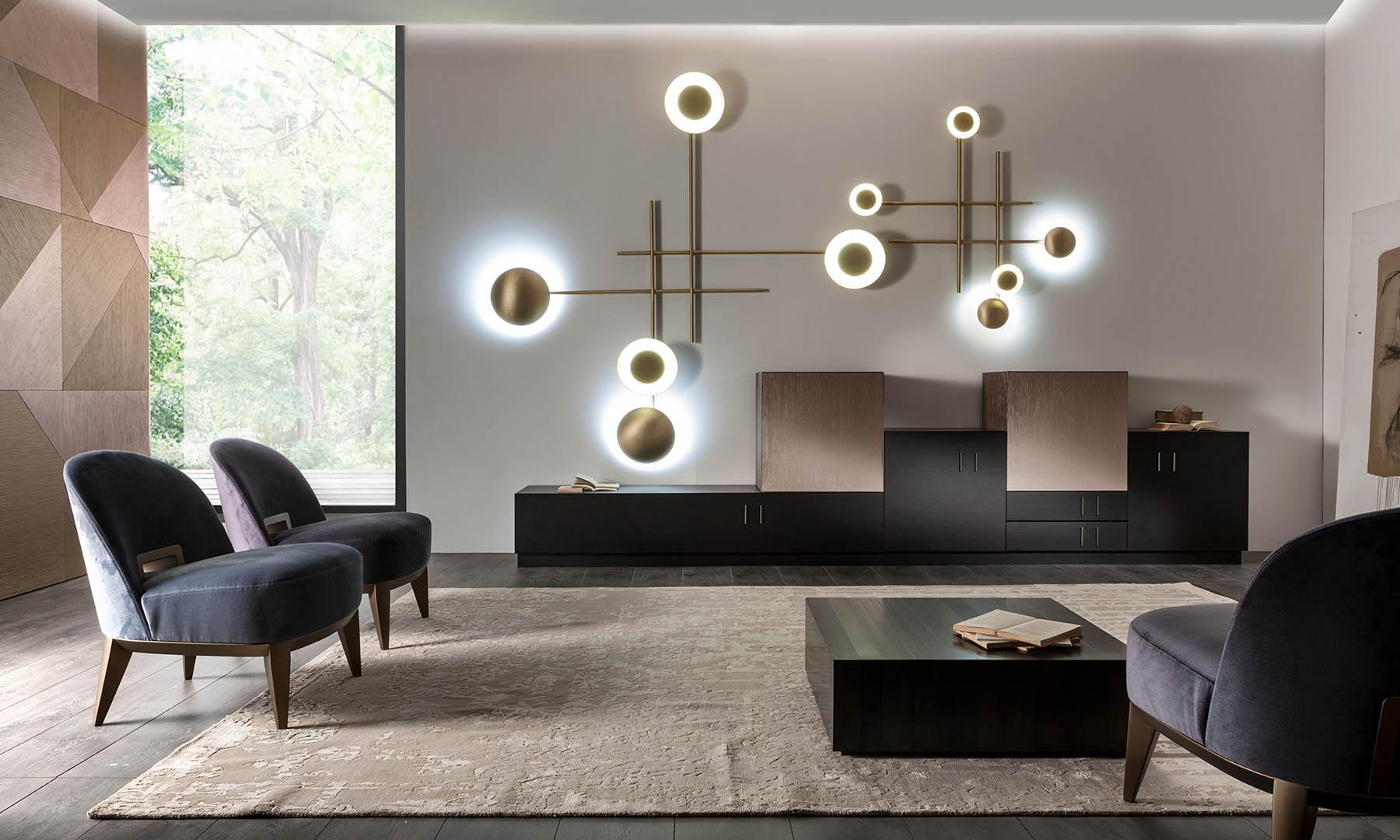 modern luxury living room with wall panels and wall lamps in brass