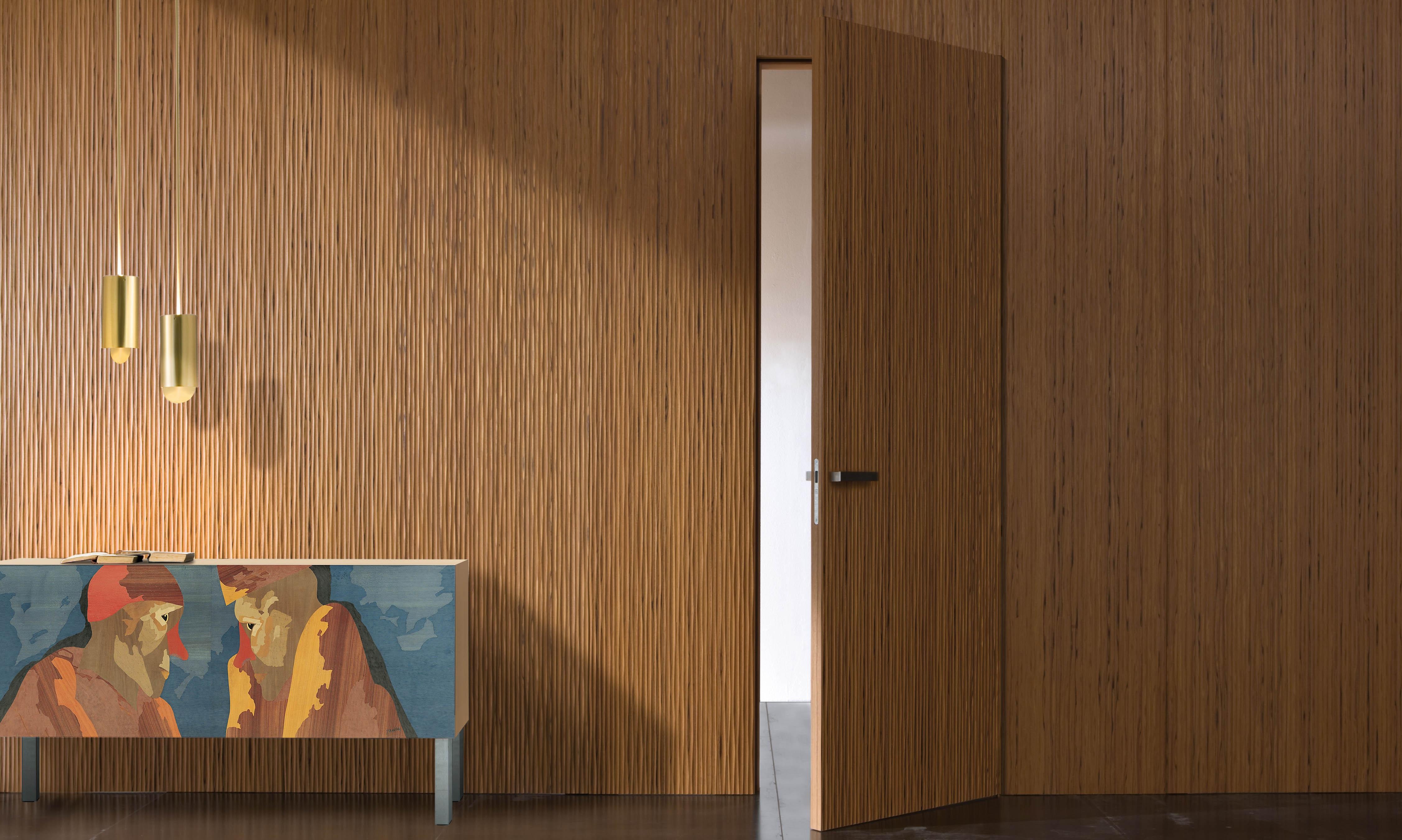 Laurameroni limited edition sideboard in inlaid wood by Emilio Tadini for an artistic and exclusive interior design