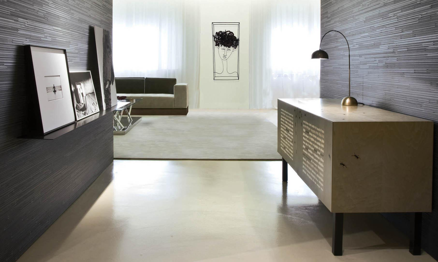 Laurameroni limited edition sideboard in inlaid wood by Emilio Isgrò for an artistic and exclusive interior design