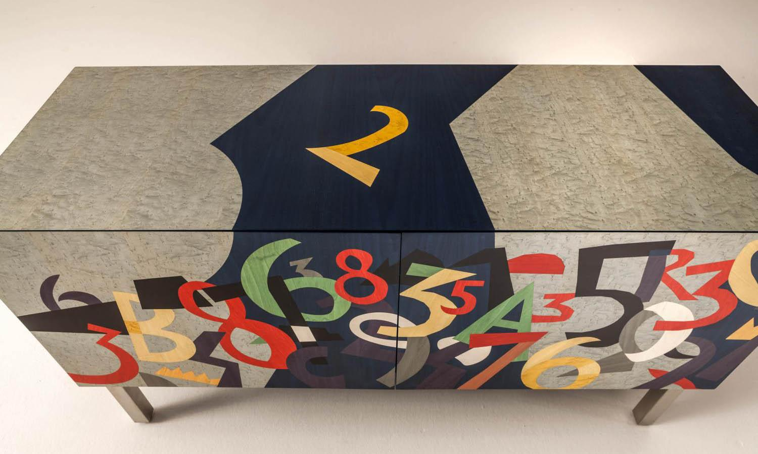 Laurameroni limited edition sideboard in inlaid wood by Ugo Nespolo for an artistic and exclusive interior design