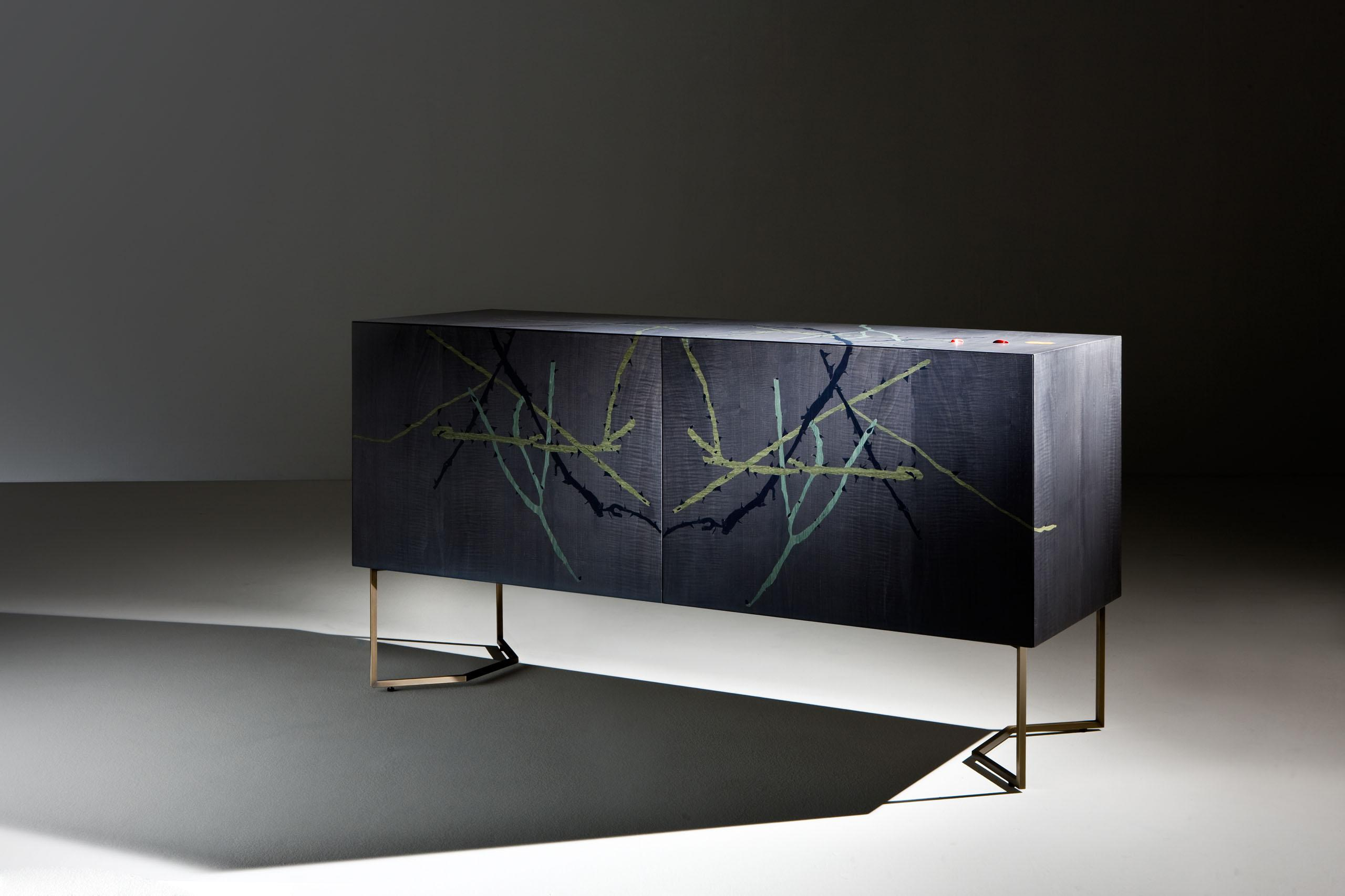 Intarsia limited-edition sideboard with wood inlays