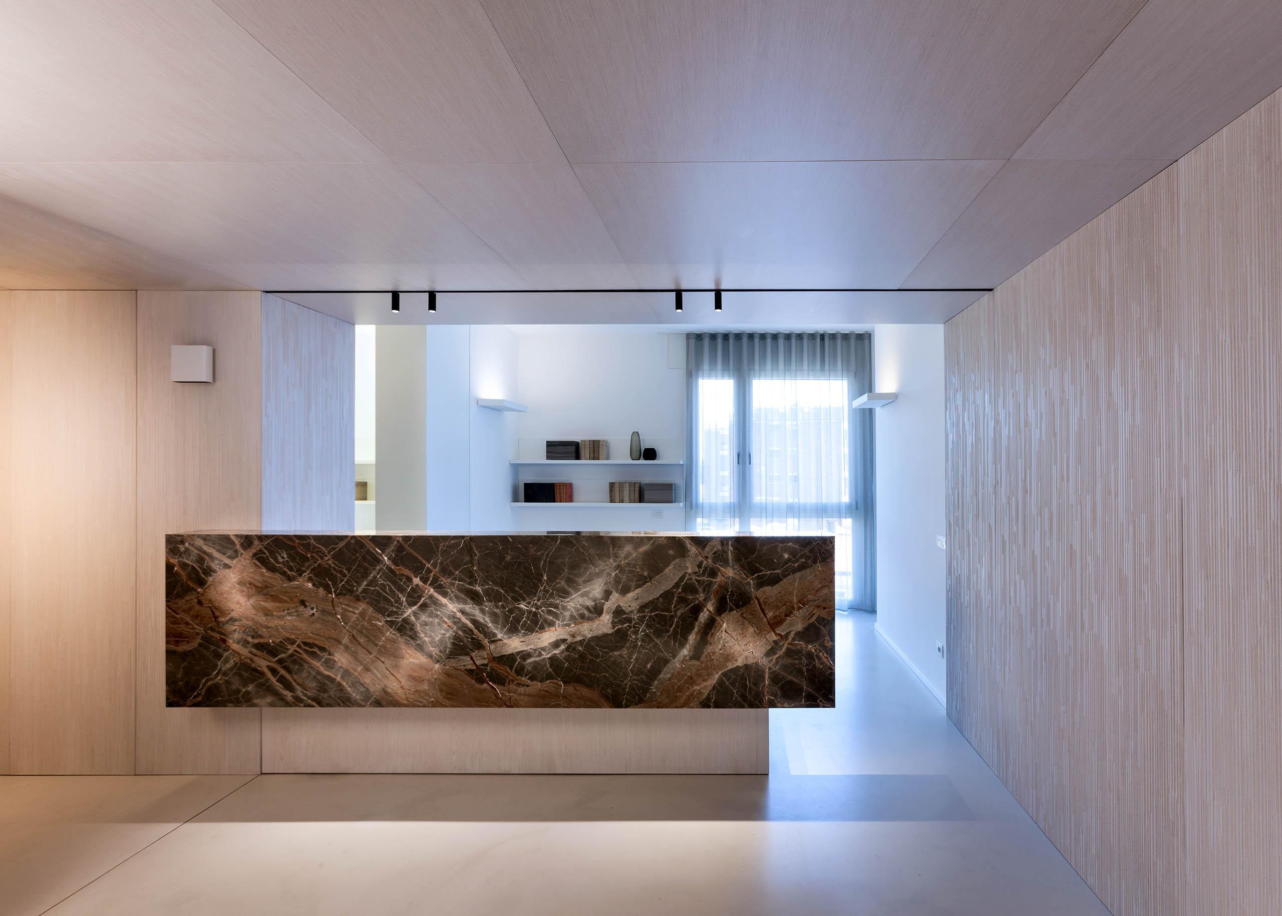Modern interior design for luxury office reception desk, waiting room, hallway, corporate office