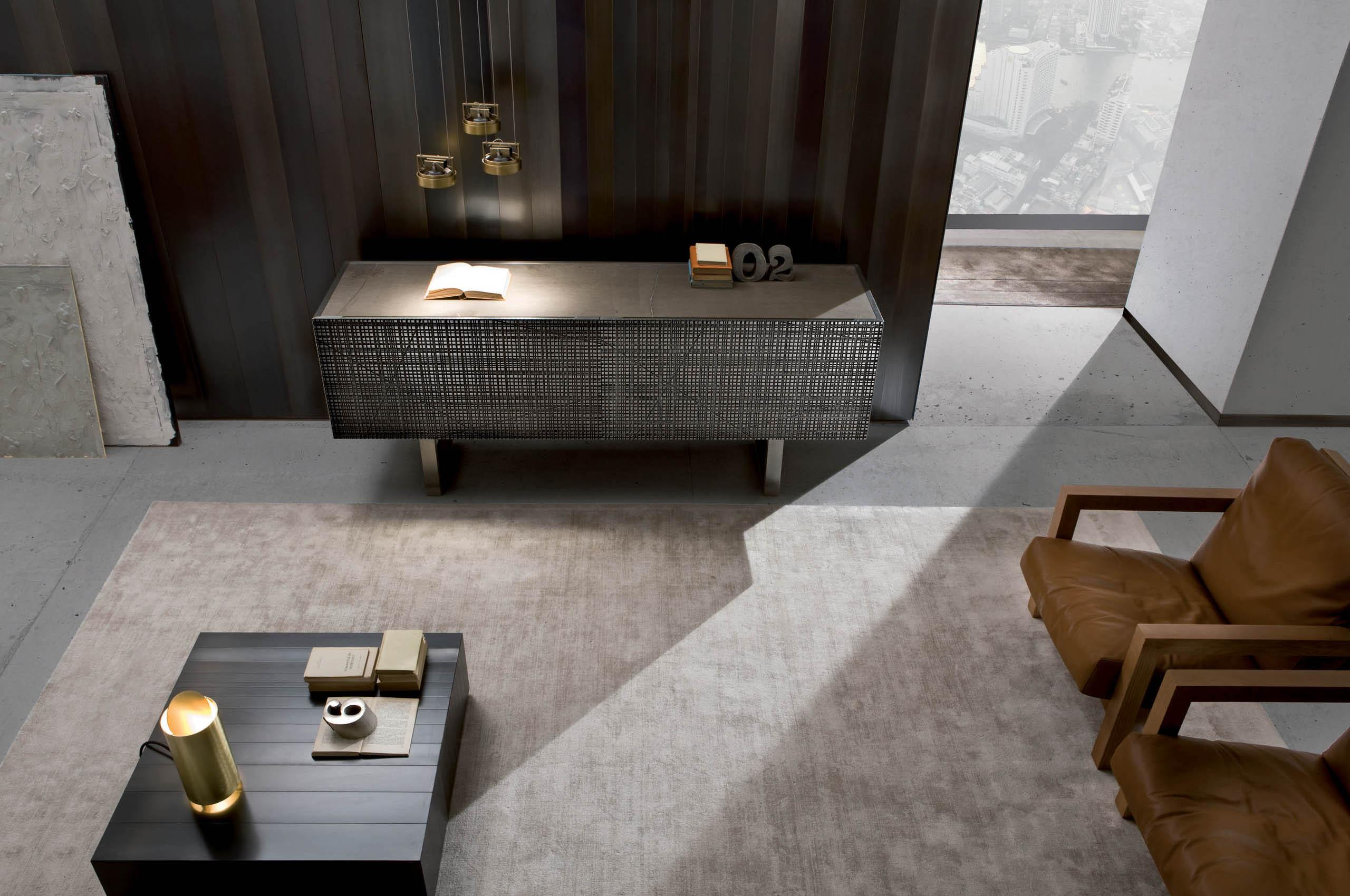 Black furniture in wood, metal, marble and glass for a minimal luxury interior design