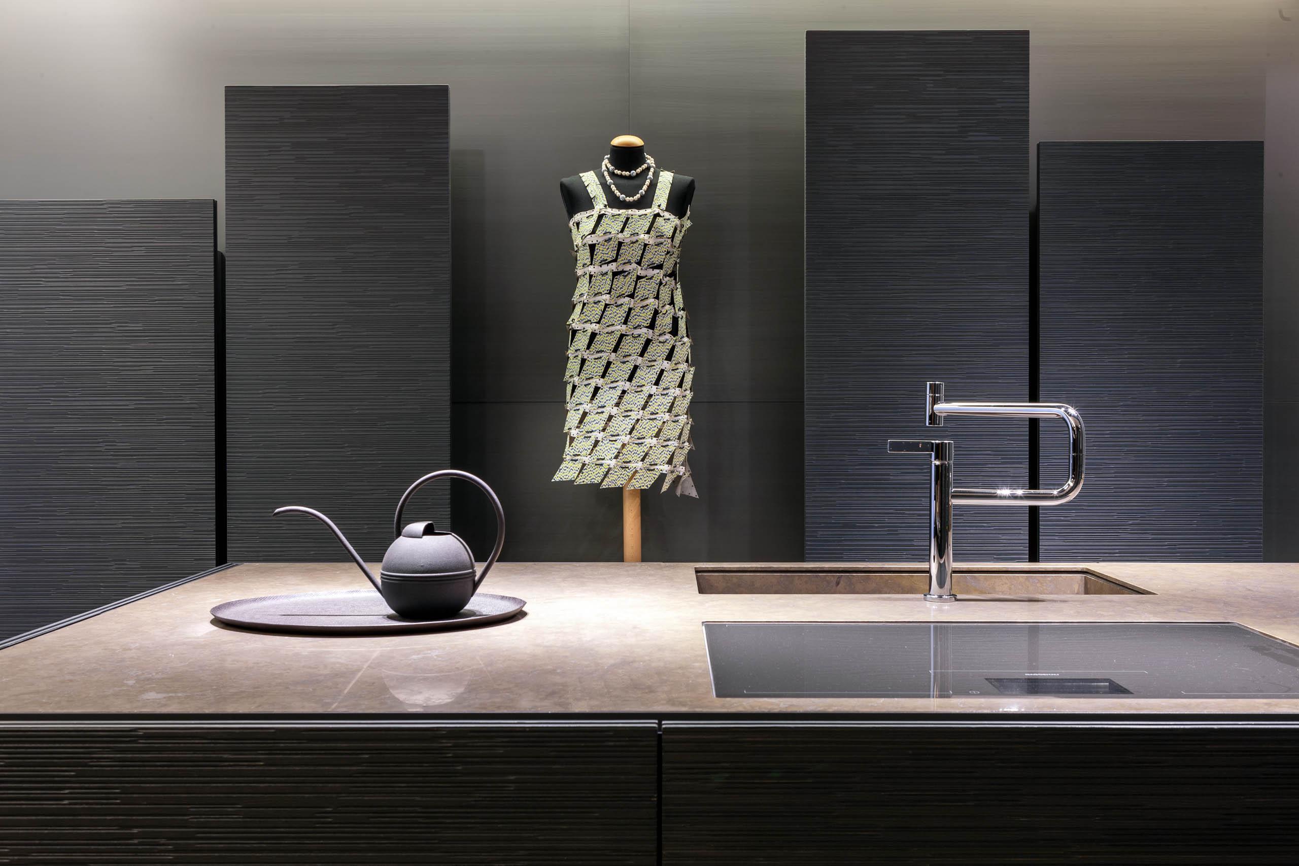 Green wooden dress in modern design kitchen