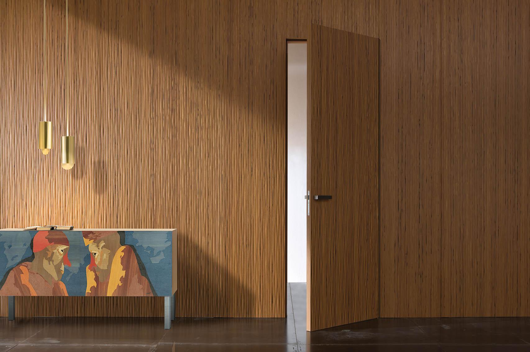 Laurameroni luxury modern integrated hinged doors for a bespoke artisanal interior design and decor