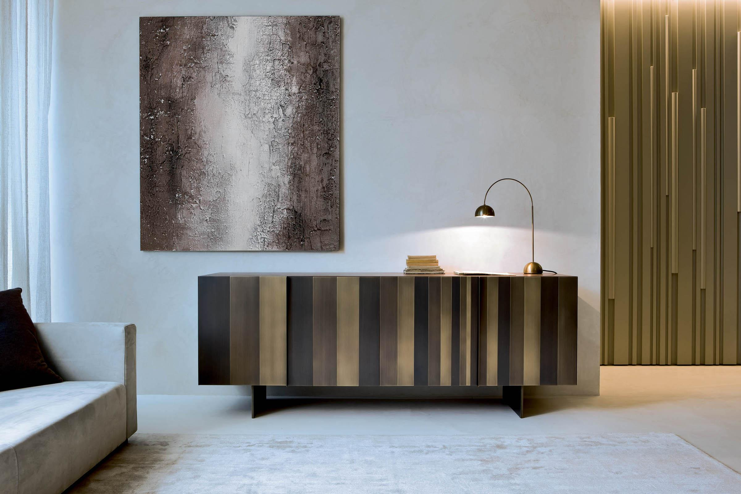 Modern metal handcrafted sideboard in burnished brass