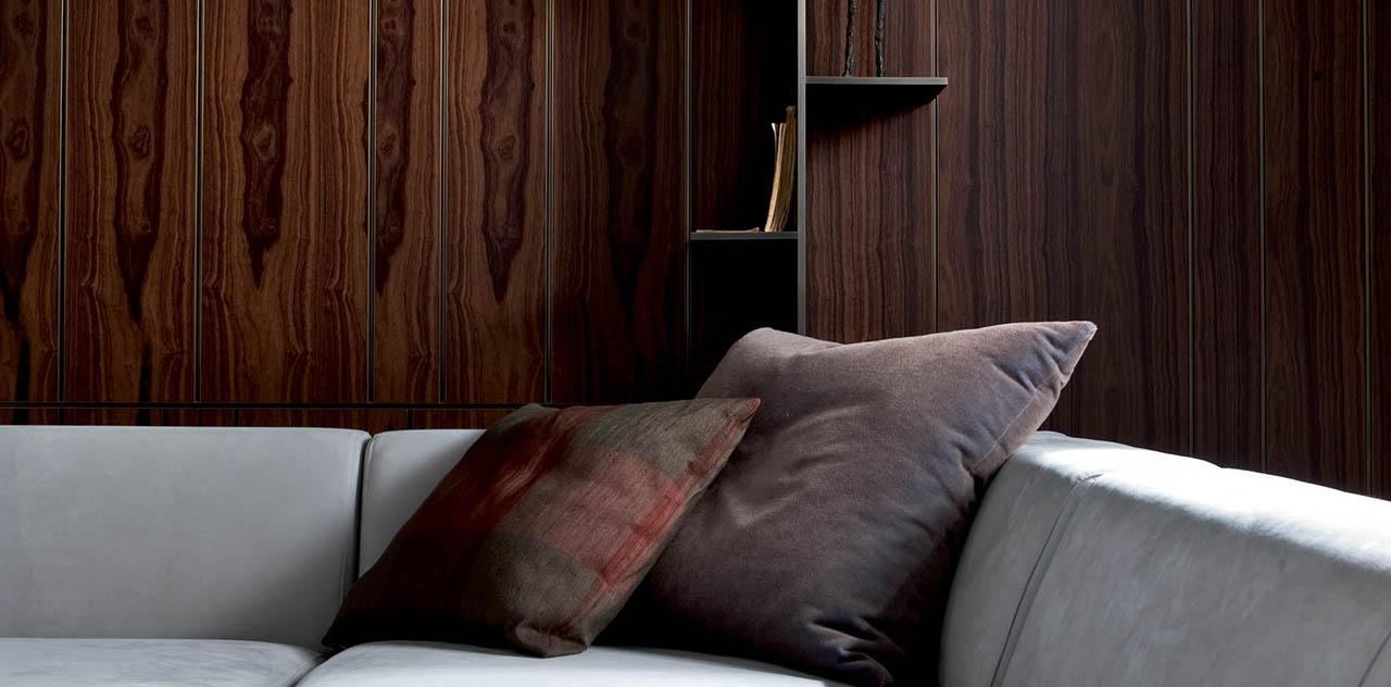 laurameroni sofa and wall panels in a luxury living room detal photography