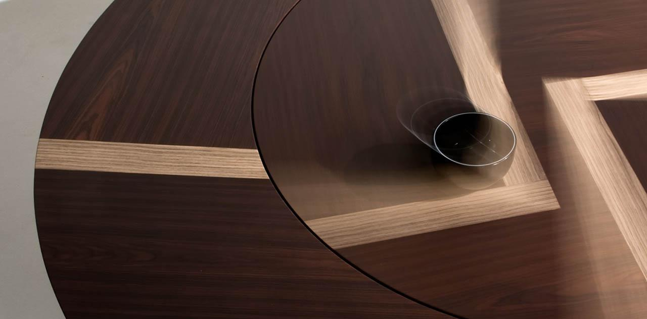 laurameroni table in wood with lazy susan for luxury dining room detail