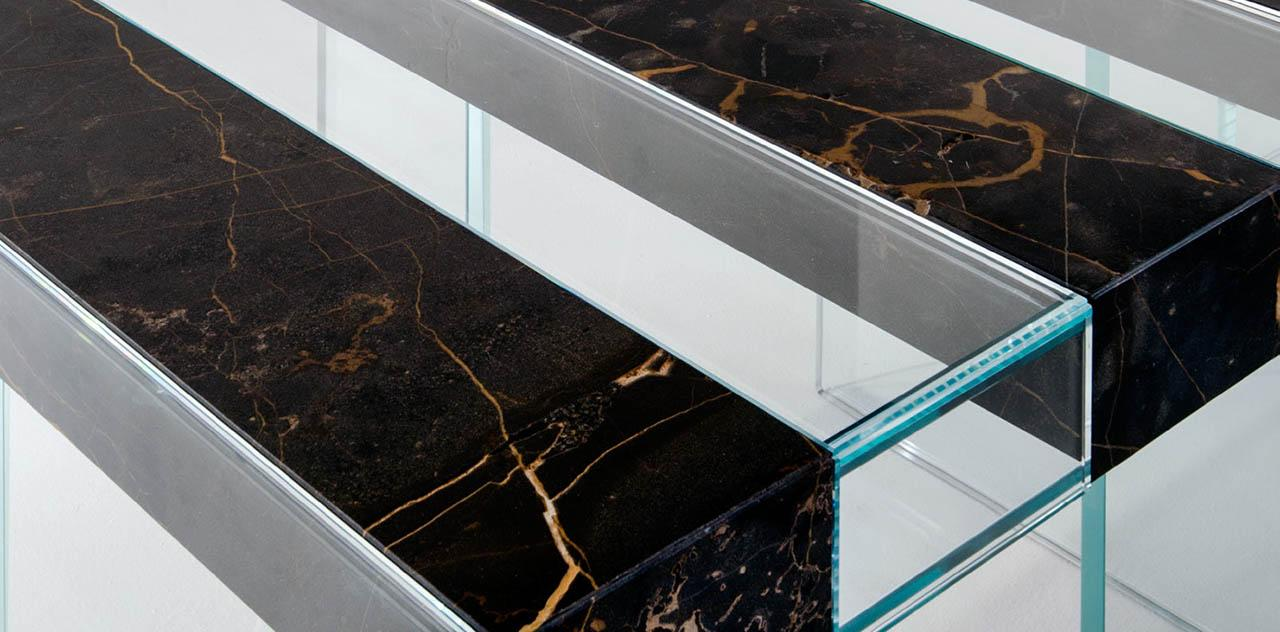 laurameroni elemento table glass, marble, wood detail photography